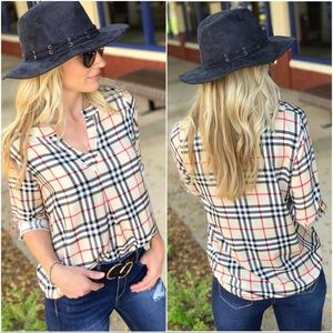 Taupe plaid pleat Front roll tan sleeve Tunic